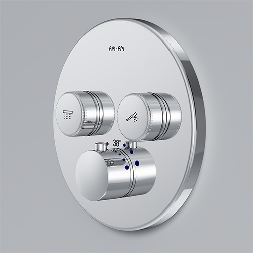 Thermostatic dual outlet mixer for concealed installation