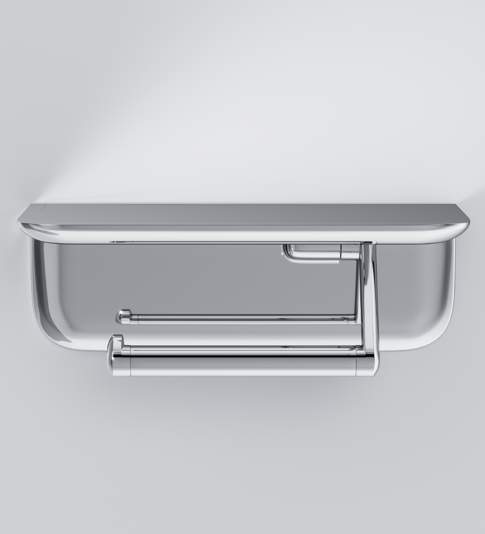 A30341500 Toilet roll holder with shelf