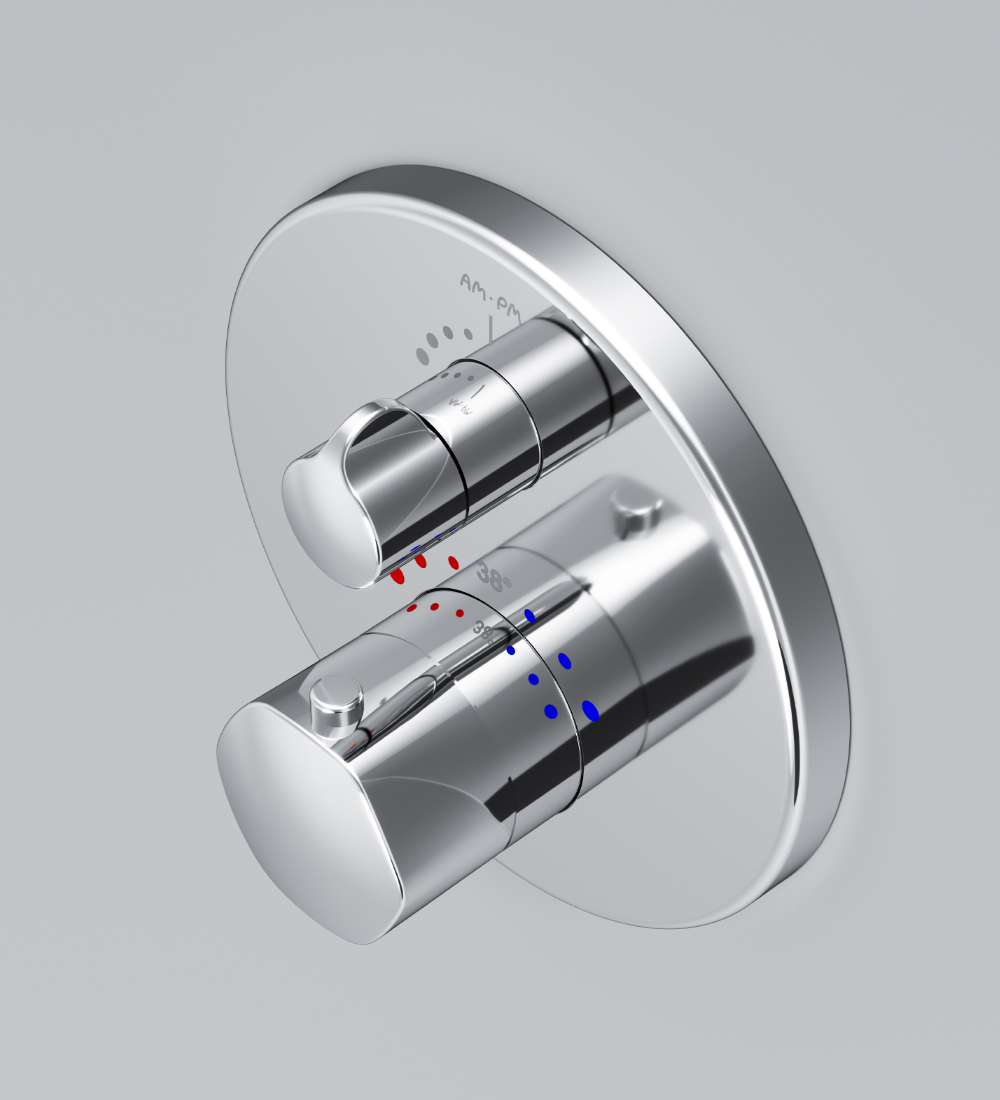 F9075600 Thermostatic single outlet mixer for concealed installation