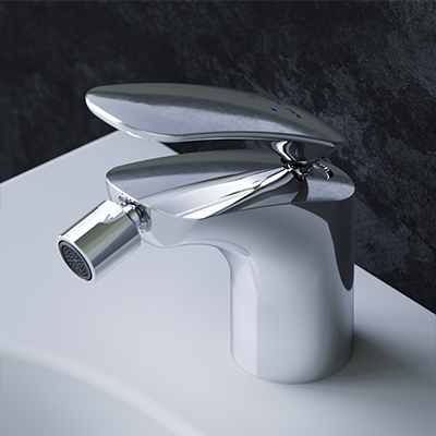 Single-lever bidet mixer with waste set