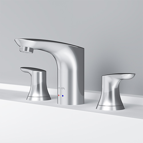Three-hole basin mixer with waste set